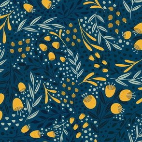 Blue and Yellow Summer Garden Floral