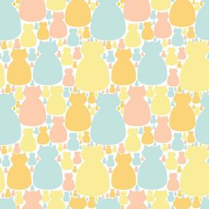 Cat Crowd pattern in creamy pastels