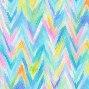 Painterly Rainbow Chevron Stripes