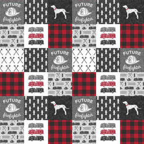 "(3"" small scale)  future firefighter patchwork fabric - plaid - dark grey and red C19BS"