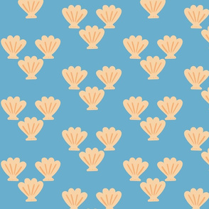 St. James Scallop Shell sand on blue small