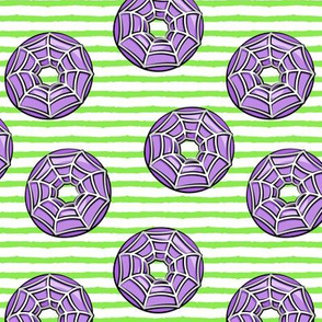 spider web donuts - halloween doughnuts green stripes - LAD19