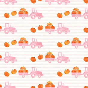 Pumpkin Picking - Fall Harvest - Pink Tractor on stripes - LAD19