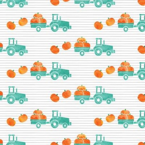 Pumpkin Picking - Fall Harvest - Teal Tractor on stripes - LAD19