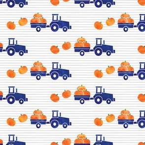 Pumpkin Picking - Fall Harvest - Blue Tractor on stripes - LAD19