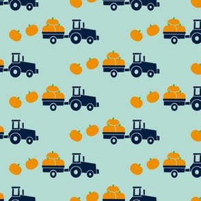 Pumpkin Picking - Fall Harvest - Blue Tractor on mint - LAD19