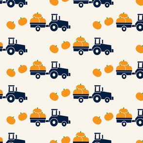 Pumpkin Picking - Fall Harvest - Blue Tractor on cream - LAD19