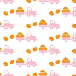 Pumpkin Picking - Fall Harvest - pink tractor - LAD19