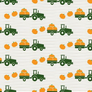 Pumpkin Picking - Fall Harvest - Green Tractor on stripes - LAD19