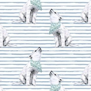 "4"" Baby Boy Wolf with Bandana and Blue Stripes"