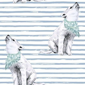 "8"" Baby Boy Wolf with Bandana and Blue Stripes"