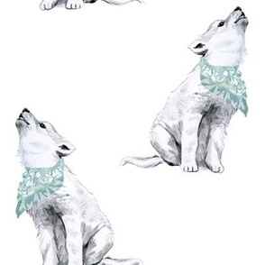 "8"" Boy Baby Wolf with Bandana"
