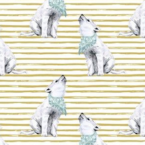 "4"" Boy Baby Wolf with Gold Stripes"