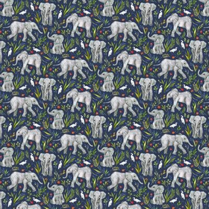 Baby Elephants and Egrets in Watercolor - navy blue, extra small print