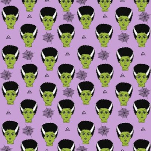 SMALL - Bride of frankenstein halloween character cute seasonal fall october fabric // purple by andrea lauren