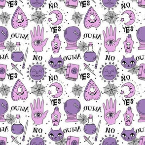 SMALL - Ouija cute halloween pattern october fall themed fabric print white purple by andrea lauren