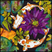 Purple Lily & Koi  Medium Scale