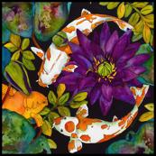 Purple Lily & 3 Koi Fish Medium Scale