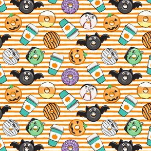 "(3/4"" scale) Halloween coffee and donuts - teal with orange stripes  - bats, pumpkins, spider web, vampire - LAD19 BS"