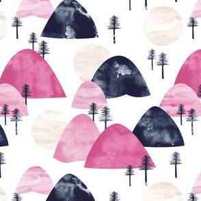 The hills little enchanted forest mountains trees and sun pink navy