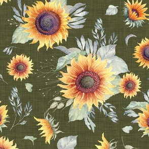 Sunrise Sunflowers // Olive Linen
