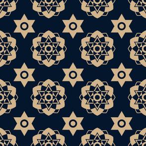 Dark blue and gold star seamless pattern