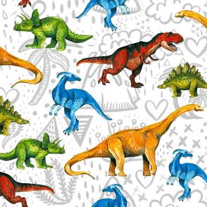 Happy Dinosaurs on Volcano Background - Large