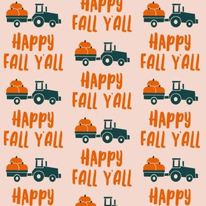 Happy Fall Y'all - pumpkin patch tractor - pink - LAD19
