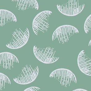 Art Deco fabric half circles green by Mount Vic and Me