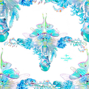 Aqua Chalcedony Luna Moth Cicada dense