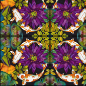 Purple Lily & Koi Abstract Pattern