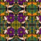 Purple Lily & Koi Abstract Pattern