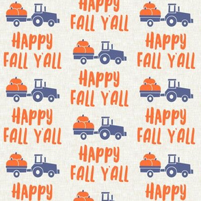 Happy Fall Y'all - pumpkin patch tractor - blue - LAD19