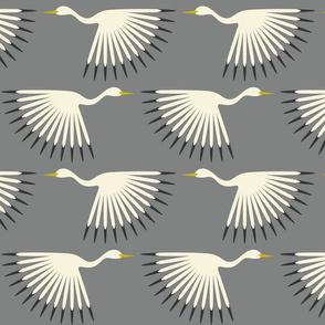 Art Deco Cranes - Smoke Large