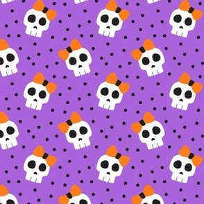 "(1.5"" scale) skulls with bows - halloween - purple - LAD19BS"