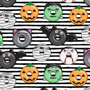"(1.25"" scale) halloween donut medley - cute halloween - black stripes - monsters pumpkin frankenstein black cat Dracula C19BS"