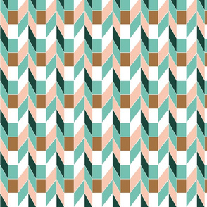 Pink and green geometric tiles