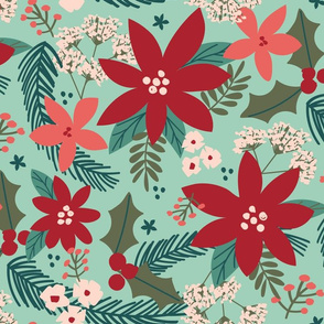 Holly Floral-Teal