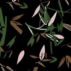 Colors drawing, leaf print pattern