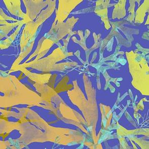 Hidden Seahorses Gold on Purple 150