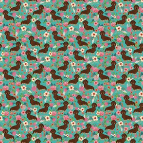 TINY - doxie floral chocolate and tan coat florals dachshunds fabric turquoise