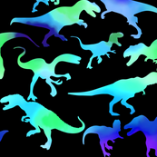 Blue Watercolor Dinosaurs on Black