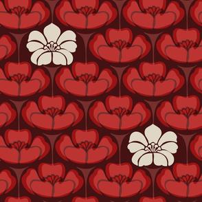 1920s Floral - Crimson