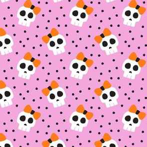 """(1.5"""" scale)  skulls with bows - halloween - pink - LAD19BS"""