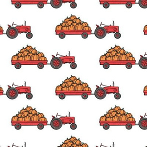 Pumpkin Patch - Red tractor on white pulling pumpkins - LAD19