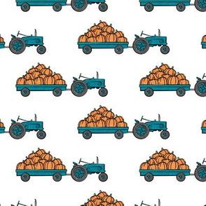 Pumpkin Patch - teal tractor  pulling pumpkins - LAD19