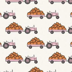 Pumpkin Patch -  pink tractor  pulling pumpkins - LAD19