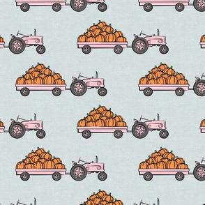 Pumpkin Patch - pink tractor (on blue) pulling pumpkins - LAD19