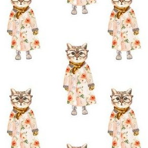 "4"" Miss Kitty with Glasses White"
