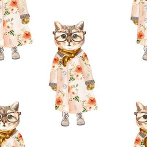 "8"" Miss Kitty with Glasses White"